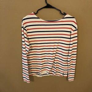 Blue & Red Stripes over Cream Sweater